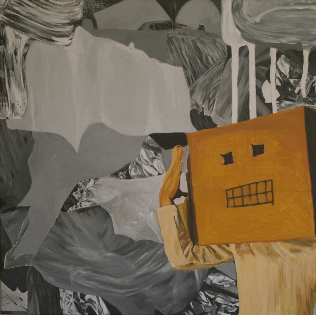 Boxhead, acrylic paint and watercolour pencil on canvas, 80 x 80 cm, 2018